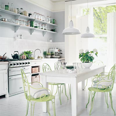 All White Kitchen with a pop of lime green