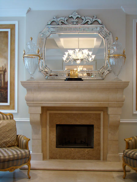 traditional simple fireplace with venetian mirror ny new