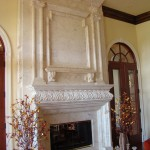 grandroom carved white marble fireplace with the mirror marble panel