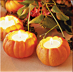 Pumpkin candle holders