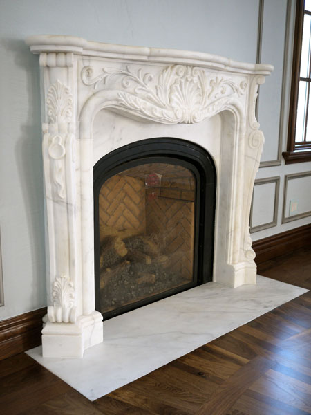 Classic French Carved White Marble Fireplace NY New