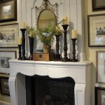 traditional mantel - candlesticks of various sizes