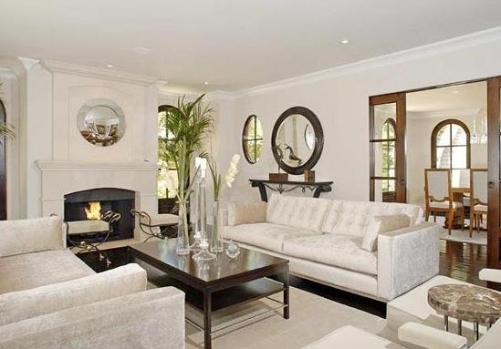 Kim Kardashian House Luxury Mansion Fireplace Living Room