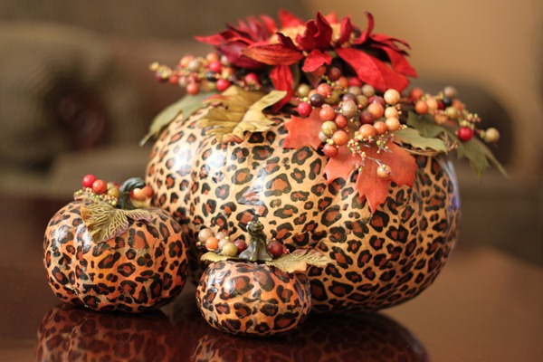 decoupage pumpkin animal print thanksgiving - tracystrinketstreasures.blogspot.com