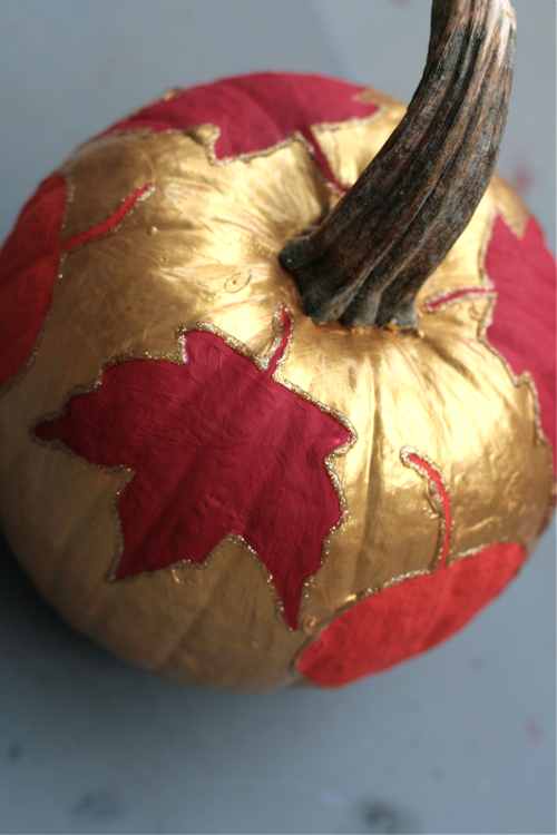 thanksgiving decoupage pumpkin gold paint red leaves with glitter