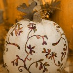 thanksgiving decoupage pumpkin-painted white with brown flower design