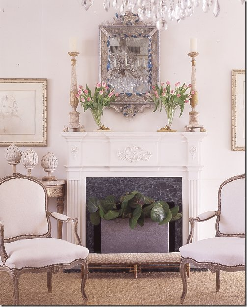 traditional white fireplace