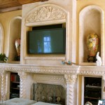 grandroom carved white marble fireplace surround with the mirror marble panel