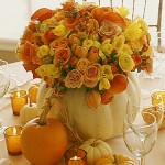 Thanksgiving pumkin flower arrangement