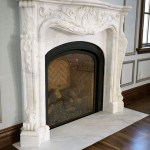 White marble carved mantel
