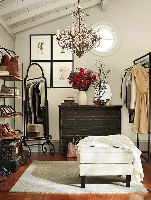 Simple closet with an ottoman